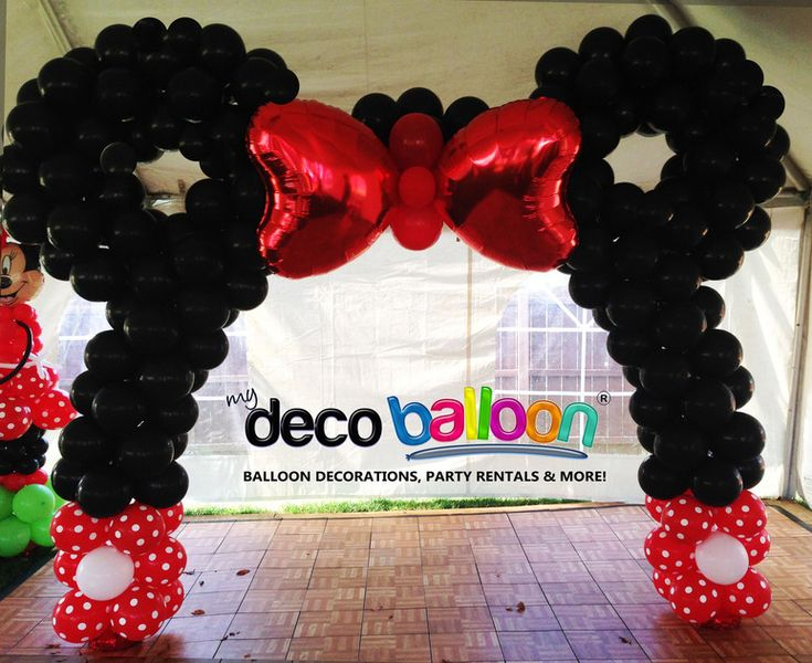 181 best images about balloon ribbon crazy on pinterest for Balloon decoration minnie mouse