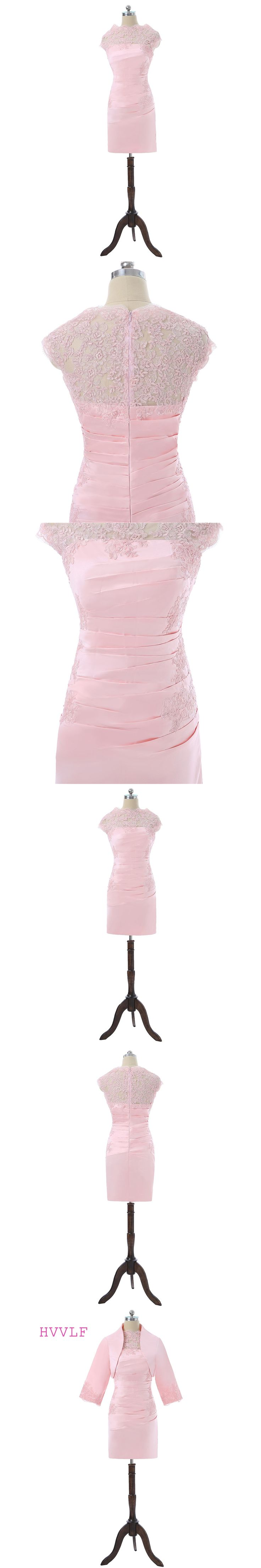 Pink 2018 Mother Of The Bride Dresses Sheath Knee Length With Jacket Lace Wedding Party Dress Short Mother Dresses For Wedding