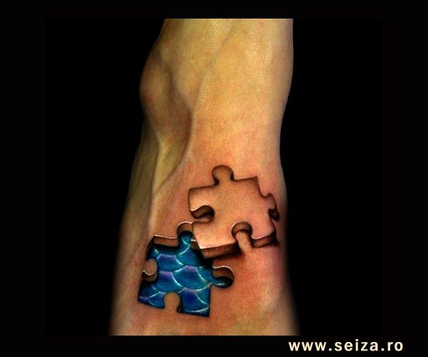 A three-dimensional tattoo: a puzzle piece. This image doesn't belong to seiza.ro and is displayed for inspirational purposes only. For our ...