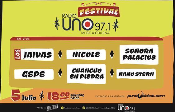 """""""Festival  Radio Uno"""", se realizará el sábado 5 de julio a partir de las 18:00 hrs. en Movistar Arena. Entradas en Sistema Punto Ticket."""