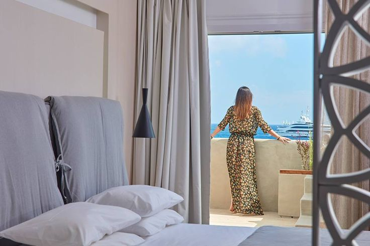 A luxurious #suite with a private pool and gorgeous view to the sea! What more could you ask for but the Deluxe Suite of the #Mykonos Kosmoplaz Hotel?