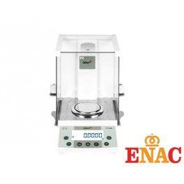 Balanza analítica certificada para laboratorio, precisión 0,1 mg. Calibración externa o automática interna. Capacidad hasta 220 g.