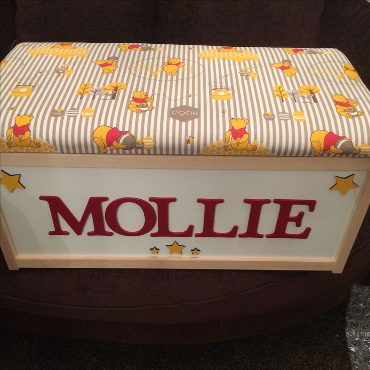 Winnie the Pooh toy storage box with cushioned  seat. Any name can be added, any fabric can be done www.etsy.com/uk/shop/littlebowchicgifts
