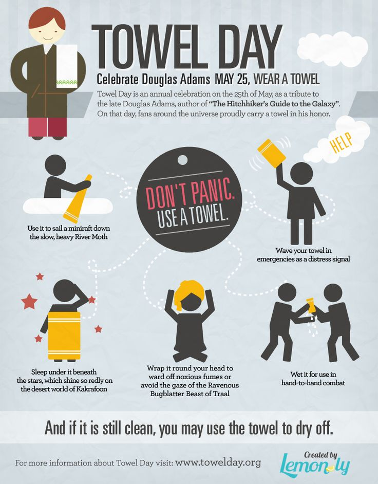 Tomorrow is Towel Day -- May 25  DON'T PANIC!!