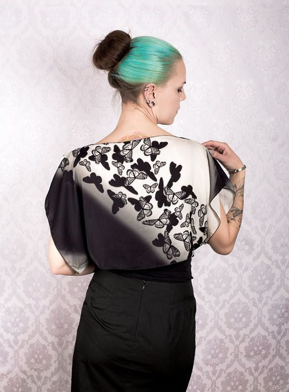 Butterfly Print Satin Top by KitsuneCoutureFI on Etsy