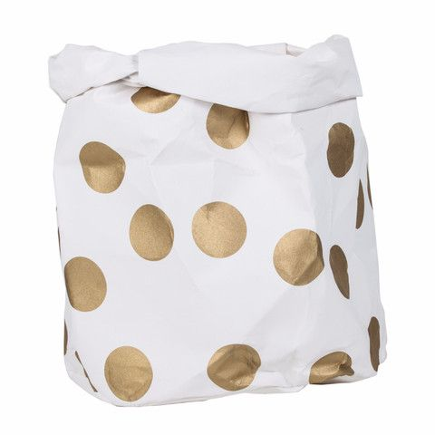 Washable Paper Bag Gold Spot - Small