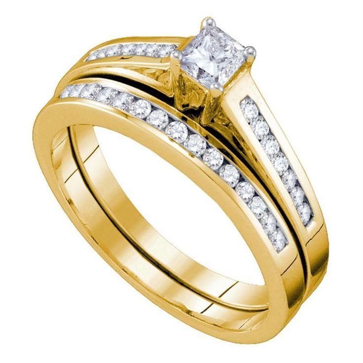14kt Yellow Gold Women's Princess Diamond Bridal Wedding Engagement Ring Band Set 1/2 Cttw - FREE Shipping (US/CAN)
