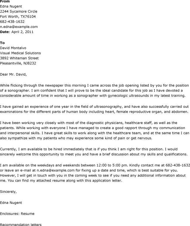 Sonographer Cover Letter : Cover letters Samples
