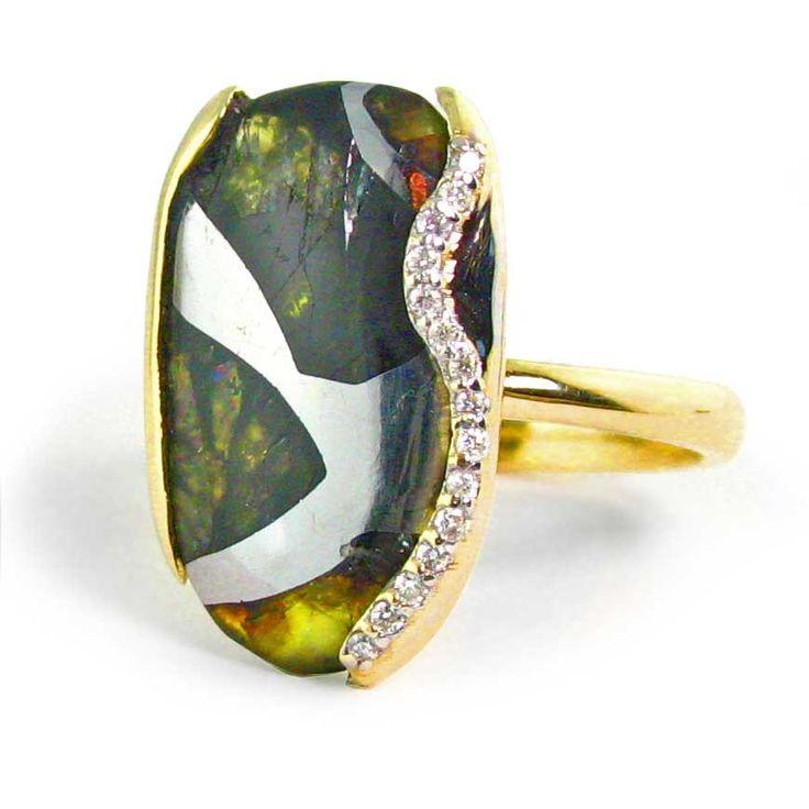 s meteorite ring pallasite jewelry meteorite