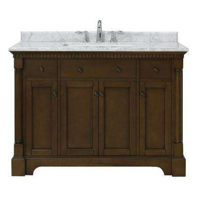 Claudia 48 In W X 22 In D Vanity In Antique Coffee With Marble Vanity Top In Carrara With White Basin Marble Vanity Tops Vanity Vanity Top
