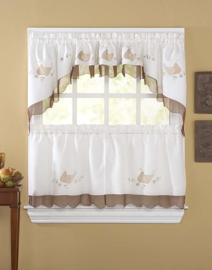 Anjou Pear 5 Piece Kitchen Curtain Tier Set / Curtainworks.com Part 88
