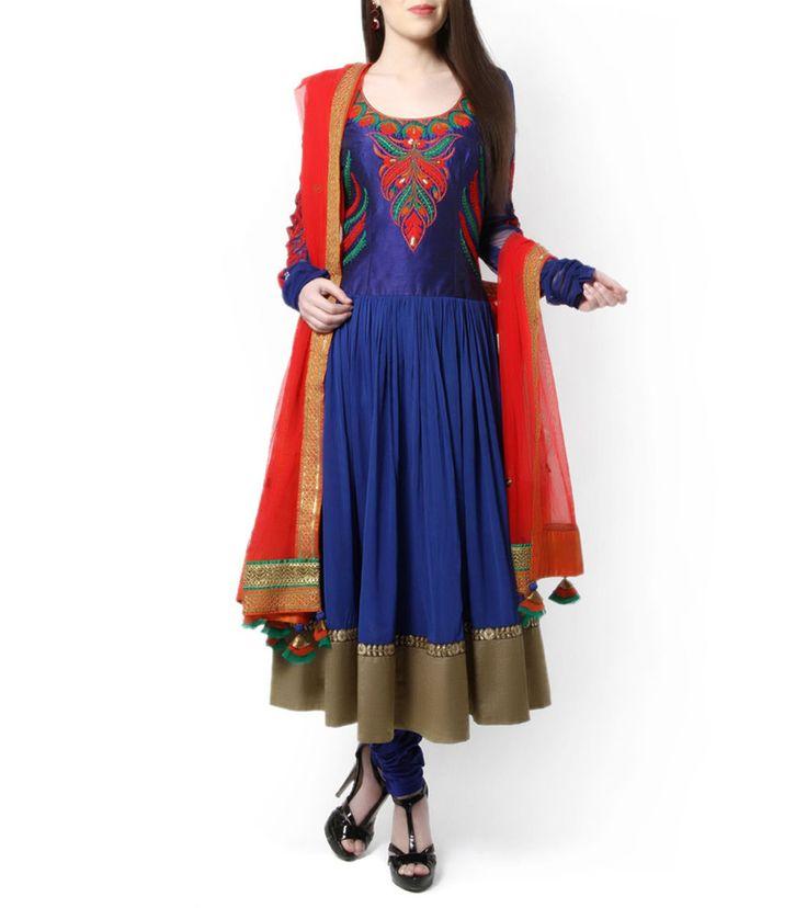 Royal Blue Embroidered Anarkali Suit
