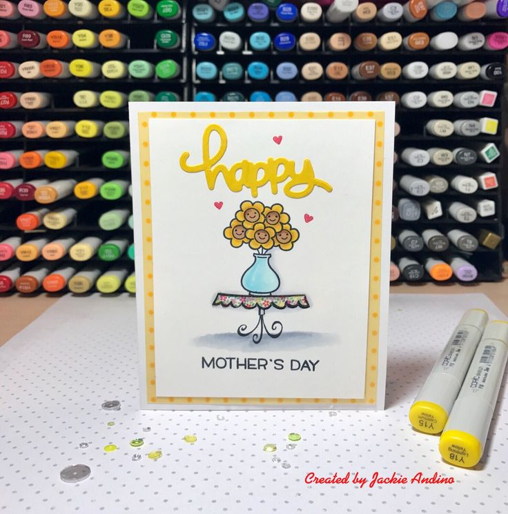 Mother's Day card using two Lawn Fawn sets . I used on the mend , bake me a cake and happy happy happy.