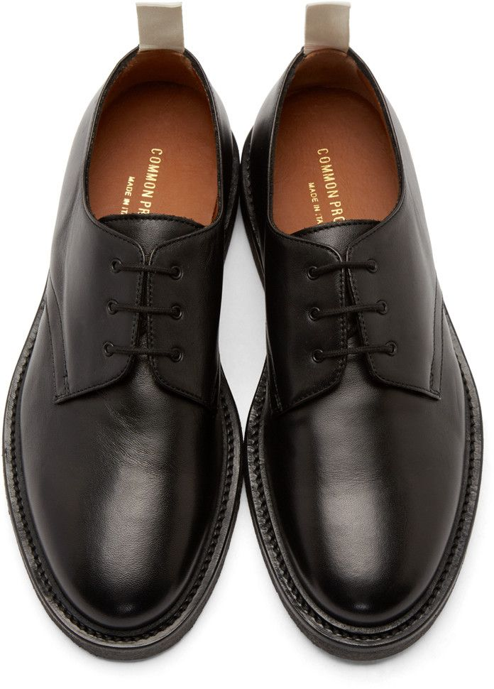 fdd67ecf79a3 Common Projects Black Leather Cadet Derbys