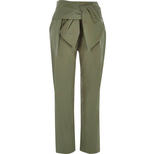 River Island Khaki green paperbag waist pants ($76) ❤ liked on Polyvore featuring pants, khaki, tapered trousers, women, river island, woven pants, tapered pants, peg leg pants and paperbag trousers