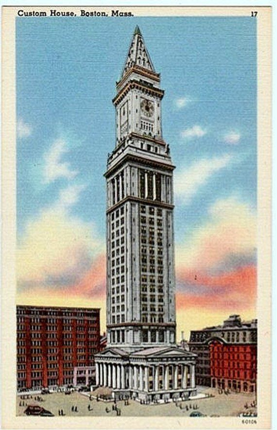 Vintage Boston Postcard The Custom House Tower Unused Etsy Custom Homes Boston History Postcard