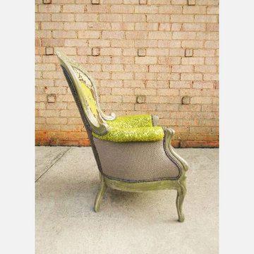 Delightful Vibrant Multi Fabric Victorian Armchair Green