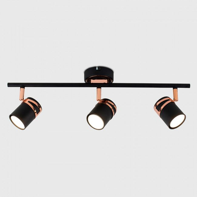 Garcia 3 Way Ceiling Light In Black And Copper Ceiling Lights Copper Ceiling Lights Modern Ceiling Light