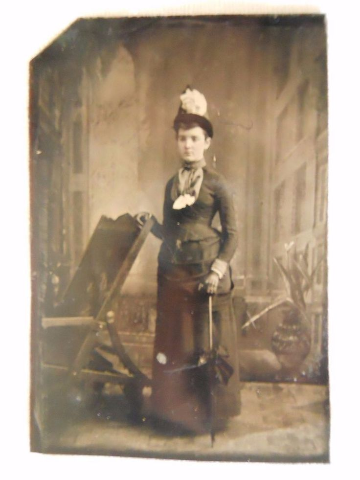 Lovely Victorian lady~Hat~Black Parasol~Ruffles~Antique Tintype Photo