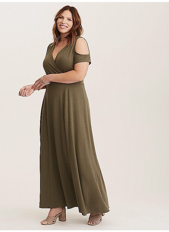 f8b0917a49ff46 TORRID   Olive Cold Shoulder Surplice Jersey Knit Maxi Dress (Short Inseam  Now Available)