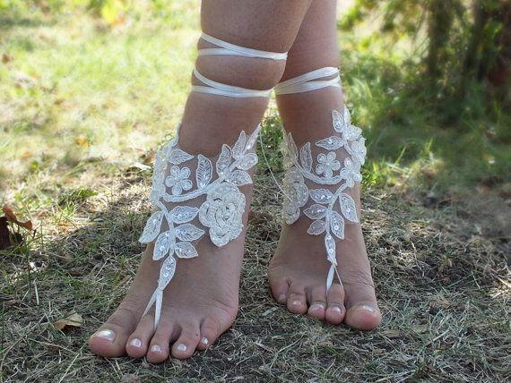 inci dantel sandalet gelinlik dantel halhal Sahil düğün yalınayak sandalet, halhal, halhal düğün, gelin ile işlemeli ücretsiz gemi ---- fildişi