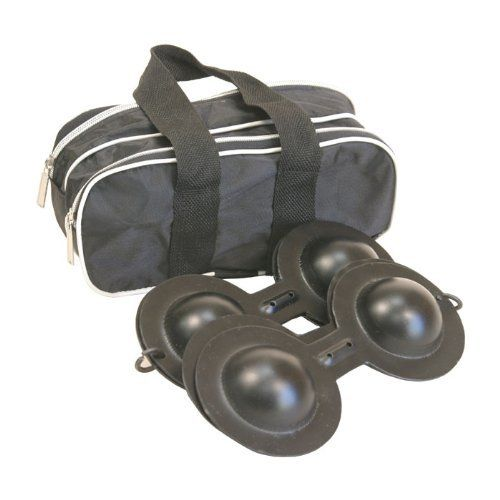 "Qarkabeb, Moroccan Castanets, 9"" by Mid-East. $27.35. Qarkabeb. Origin Country: Egypt. 5 lbs. Made by Mid-East.9 1/2"" L x 4 1/2"" W, almost 1.2 lbs each. Moroccan iron castanets of the Gnawa people. Like most hand cymbals, there are two for each hand. The set comes in its own case with separate zipper compartments for each Qarkabeb. Each Qarkabeb, consists of two 9 1/2"" long, flat metal bars with two convex disks at each end. Two bars are linked at one end by a metal..."