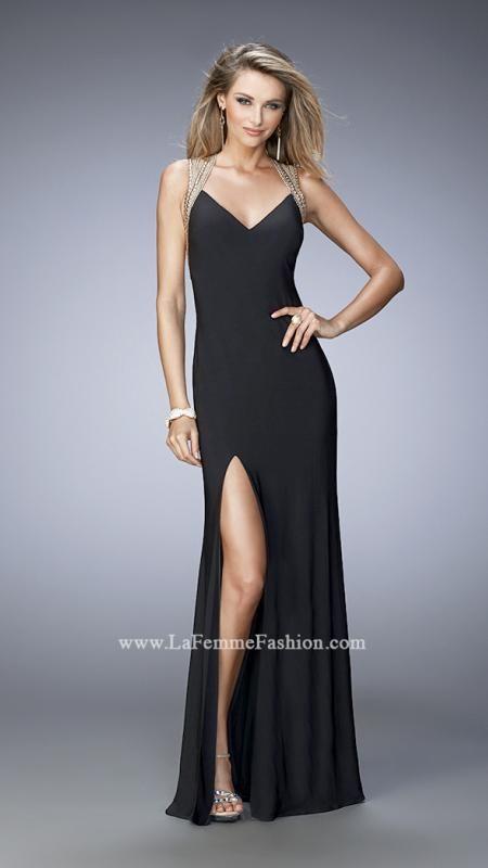La Femme 22312 Black Trend Setting Low Open Back Fitted Jersey Prom Dress