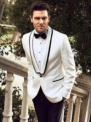 Custom Men Suits Black Pants Shawl Lapel Groomsmen Tuxedos Wedding Groom Suit