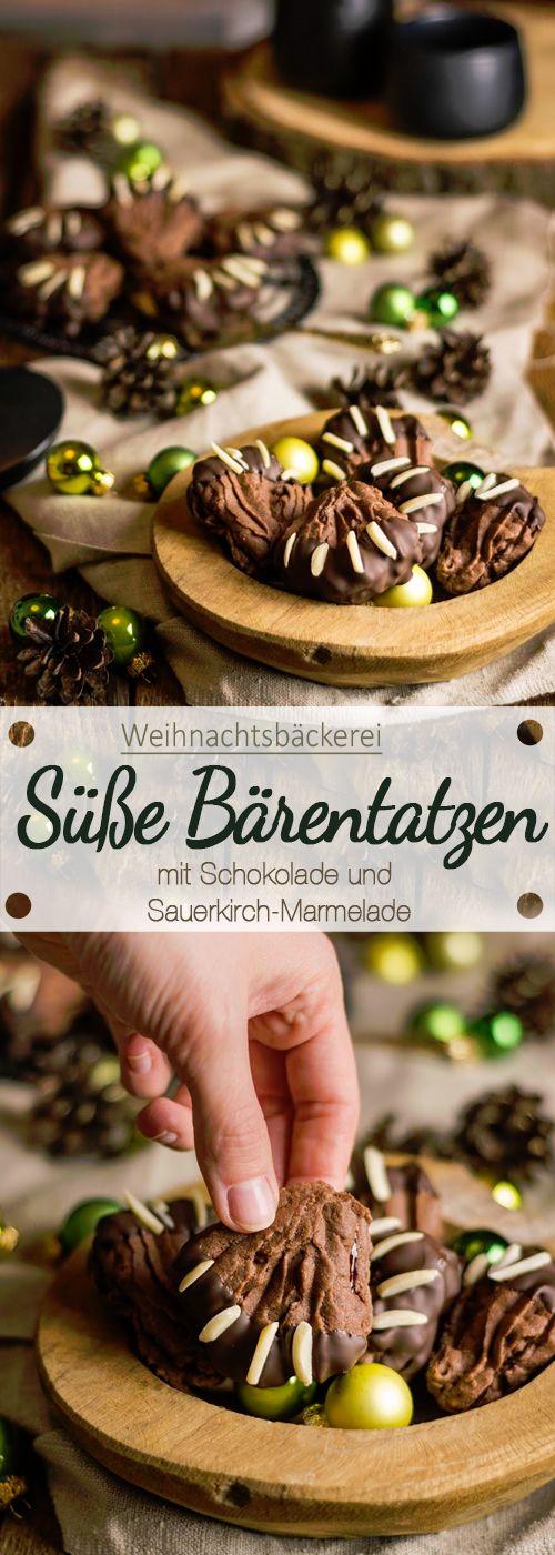 Süße Bärentatzen mit Schokolade und Sauerkirsch-Marmelade