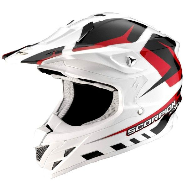 Casque Scorpion Vx 15 Duster Rouge - Speedway #speedwayfr #speed #france #moto #casque #white #blanc #red #rouge #casques #cross
