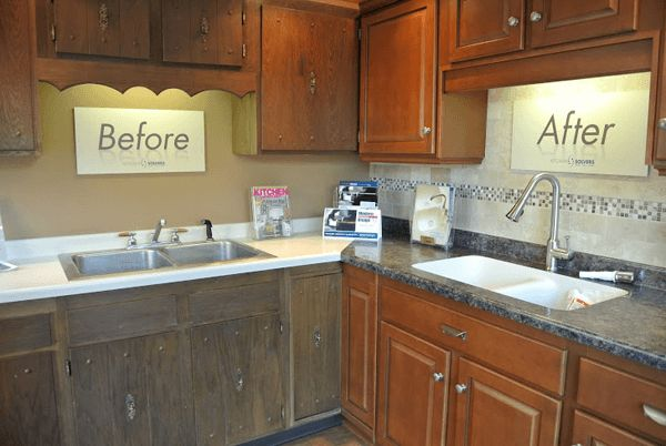 DIY kitchen cabinet refacing before and after