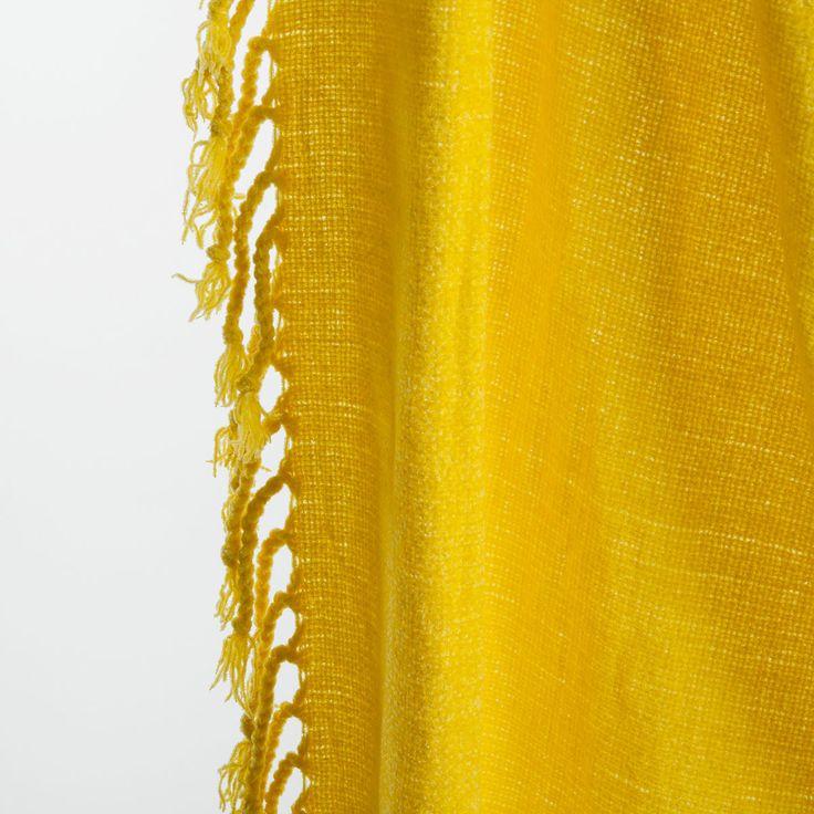 ZARA HOME mosterd gele chenille deken