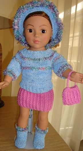 """KNIT: Free Pattern from Ladyfingers - AG doll - Sweater, Skirt & Purse in """"Blanket Rib Stitch"""", Hat & Purse"""