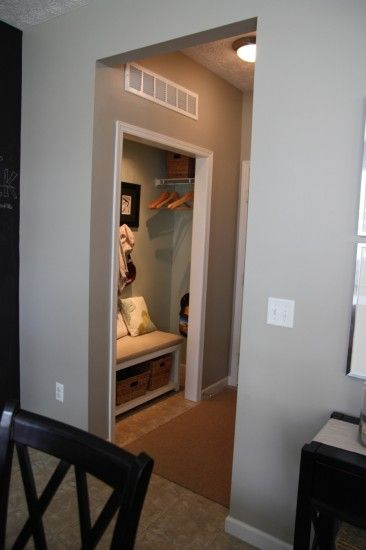 Different spin on the mud room. You don't have to remodel or tape anything off. Just remove the door and find a bench to fit inside!