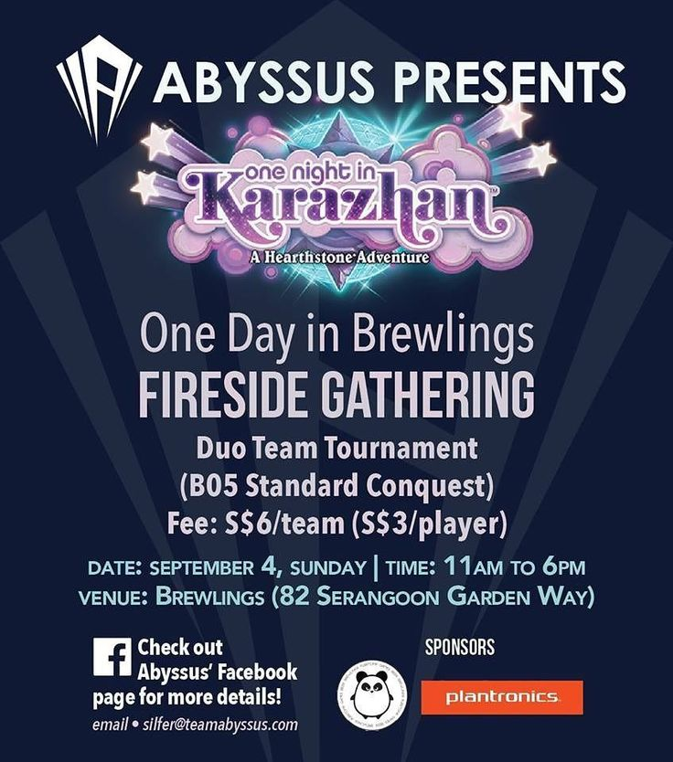 Abyssus will be organising an awesome Hearthstone this Sunday 4th Sept. Register your participation below!  Register Here: http://ift.tt/2bVbAax  #hearthstone #abyssus #sg #igsg #exploresg  #serangoongardens #singapore