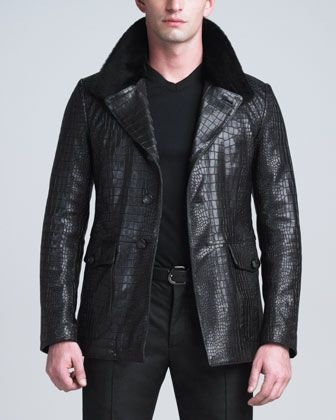 Crocodile-Embossed Lambskin Jacket from Armani so gorgeous!