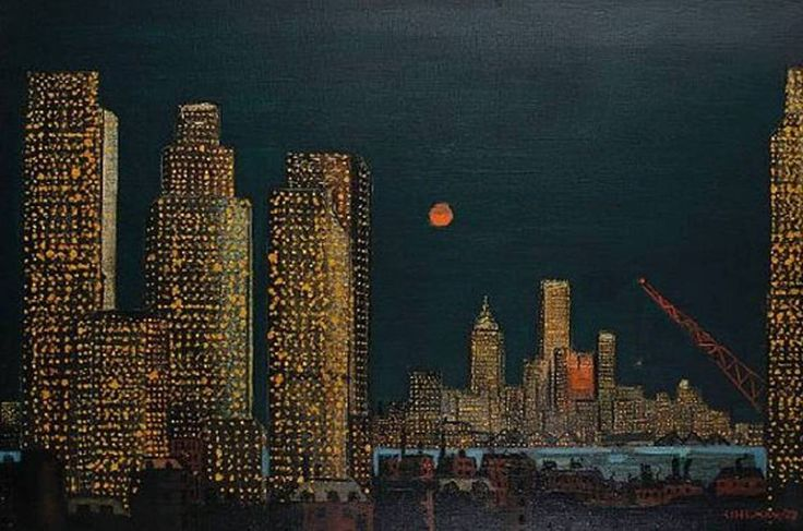 "huariqueje:  ""New York skyline - Fred Uhlman , 1958  British, 1901–1985  oil on canvas,  """