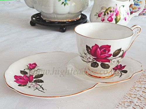 Queen Anne Tennis cup and plate. Great for those parties where you stand alot.  Hire it from highteahire.co.nz