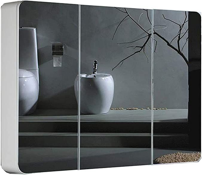 Rkrzlb Bathroom Mirror Cabinet Large Space Waterproof Bathroom Cabinet With Illuminated With Shel In 2020 Mirror Cabinets Bathroom Mirror Cabinet Wall Mounted Table
