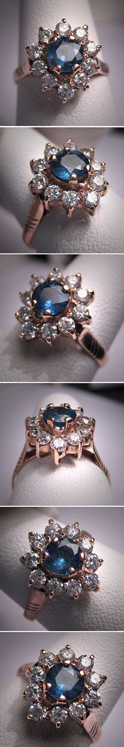 Antique Sapphire Wedding Ring Rose Gold Vintage Art Deco. $985.00, via Etsy.