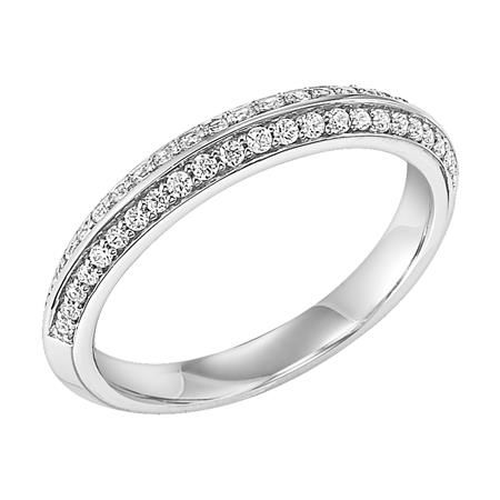 Frederick Goldman DJs Jewelry See More Two Rows Of Round Brilliant Cut Diamodns Pave Set In White Gold Diamond Wedding Ring