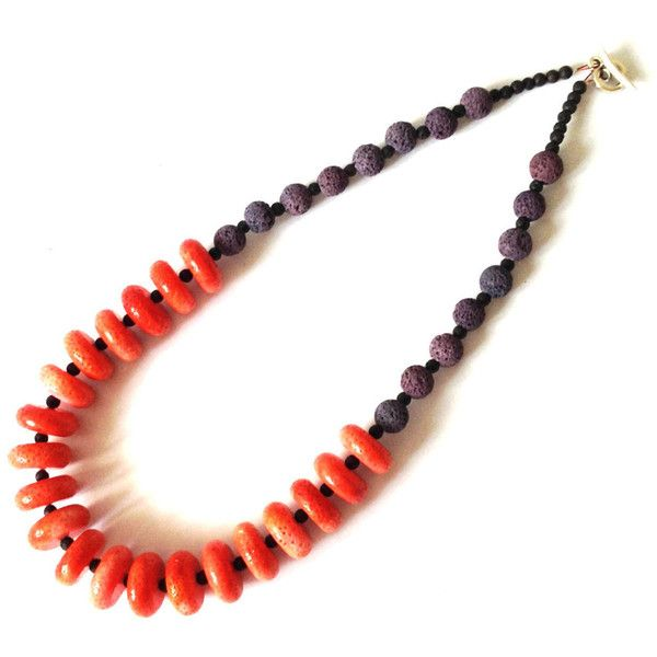 Coral Lava Long Necklace Red Sponge Coral Santorini Volcanic Lava Natural Beads Eco Friendly Organic Greek Handmade Jewelry Gift For Her (€26) found on Polyvore featuring women's fashion, jewelry, necklaces, planetearthhandmade, beaded jewelry, handmade beaded jewelry, beading necklaces, long necklaces and red bead jewelry