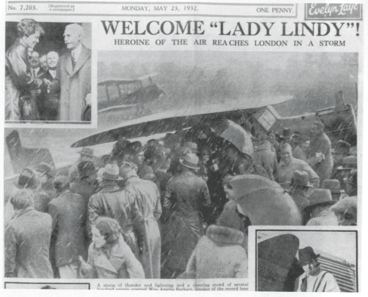 The source image for Sickert's large-scale painting, Miss Earhart's Arrival, is a photograph of her arriving at Hanworth Air Park in Middlesex, printed on the front page of the Daily Sketch on 23 May 1932 during the aviation hero's publicity circuit through England.