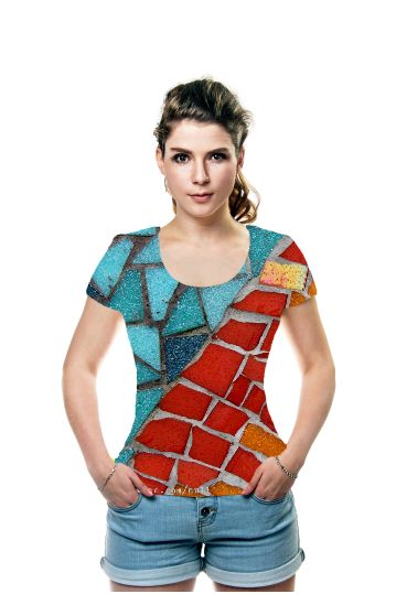 Red or Aqua T-Shirt - JUSTART on OArtTee #justart #oarttee #tshirt #design #fashion #abstract #mosaic #red #aqua #orange #green