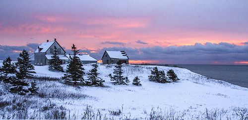 Waiting for spring. Another red sunset. Gapésie, Canada