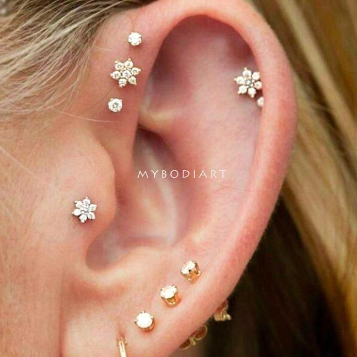 Triple Forward Cartilage Tragus Helix 16g Stud Earring Jewelry Piercing Flower