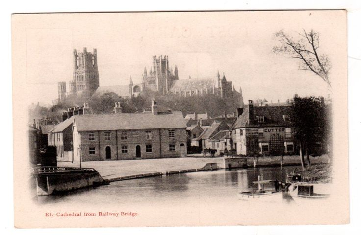 Vintage vignette postcard Ely Cathedral from Railway Bridge, Cambs. Unposted | eBay