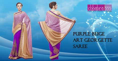 Addition of over 25 new designs every day, select Purple Beige Art ‪Georgette Saree‬ in @ $47.95 AUD from ‪Chhabra555‬ that will give you stunning look on any occasion in ‎Australia.