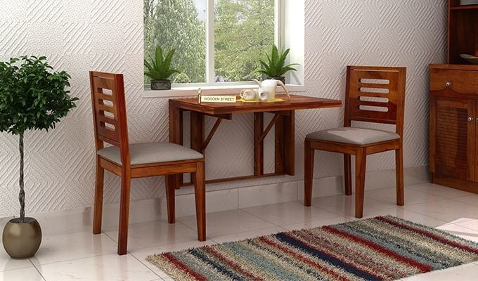 Buy Benz Wall Mount 2 Seater Foldable Dining Set Honey Finish