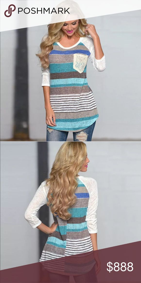 Blue Stripe Heather Jersey T, Perfect for Fall! COMING SOON!  This pretty blue top is sporty with a bit of feminine flare with a crochet lace pocket and jersey sleeves.  A perfect transition piece for fall!  Like this listing for notification when stock arrives! Lalea Tops Tees - Long Sleeve